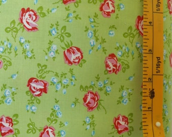 Westminster Fibers, Free Spirit Tanya Whelan, Sugar Hill, Scattered Roses, PWTW049, Green quilting fabric with small red roses