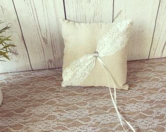 Wedding pillow Ivory ring pillow Wedding pillow Rustic/ring pillow Lace ring pillow Country wedding pillow