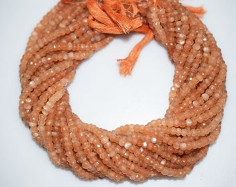 Good Quality Peach Moonstone Rondelle Beads 13 Inch Strand ,Peach Moonstone Faceted Rondelle Beads , 5 mm - MC398
