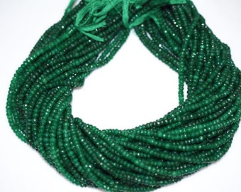 """Natural Dyed Emerald Rondelle Beads 16"""" Strand ,Dyed Emerald Faceted Rondelle Beads , 4.25 mm - MC069"""