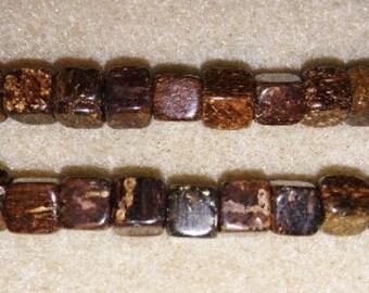 Bronzite beads large holed beads cube beads bronzite cube beads brown cube beads brown stone beads