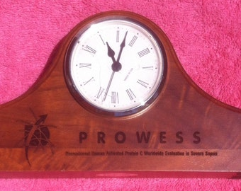 Vintage Wooden Clock, Solid Wood, Made in USA, Prowess, Office Decor, Shelf Decor, Wooden Clock, Vintage Clock