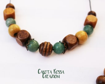 wooden jewelry and gemstone Green