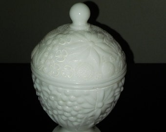 Vintage AVON White Milk Glass Covered Dish