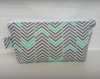 Makeup bag, Cosmetic bag, Gray Chevron Cosmetic bag, zippered pouch