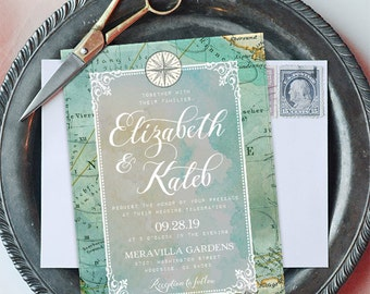 Travel Theme Wedding Invitation, Destination Wedding, Vintage Weddings, Customized with Your Wedding Details! Printable Invitation
