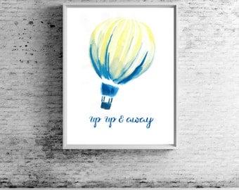 Up & Away Wall Print | Hot Air Balloon | Home Decor | Nursery Decor | Office Decor