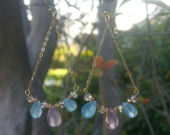 Super Fine Quality Lavender Pink and Blue Chalcedony Tear Drop Briolette Earrings / 14K Gold filled chain