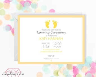 Naming Day Invite - Personalised Invitation - Baptism - Christening - Digital Download File - Printable Invitation