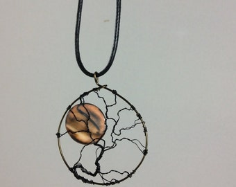 Tree of Life Necklace Mother of pearl Sunset and gunmetal twisted wire