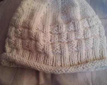 Hand knit New Zealand Merino infant beanie