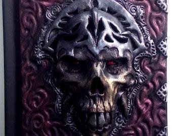 Skull Travel Book, Castlevania, horror, polymer clay journal