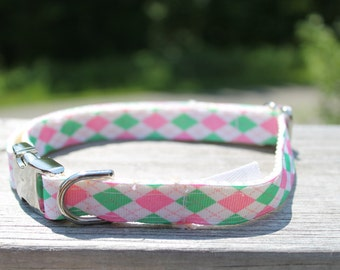 Pink and Green Argyle Dog Collar