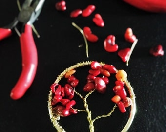 Tree of Life Pendants - Red/Gold