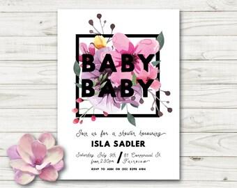 Floral baby shower invitation, baby shower invitation, gender neutral baby shower invitation, printable invite, digital invite (015)