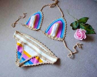 Colorful crochet bikini