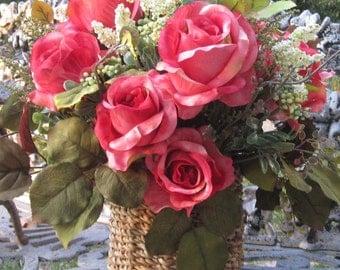 Basket of silk roses.