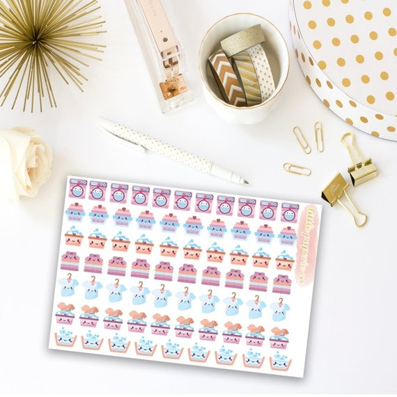 Laundry Day Planner Stickers | Washing Stickers, Laundry Stickers, Planner Stickers, Stickers For Planning, Planner Decor, Item Stickers