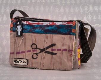 unisex shoulder bag with painted scissor-artwork-canvas messenger bag with adjustable shoulder strap made entirely by hand