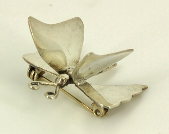 Vintage Modernist Taxco Eagle Mark Silver Butterfly Brooch Pin - Hecho en Mexico Fine Estate Jewelry - Mid Century Modern Figural Mexican