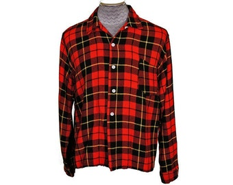 Vintage 1950s Red Wool Plaid Mens Shirt with Loop Collar
