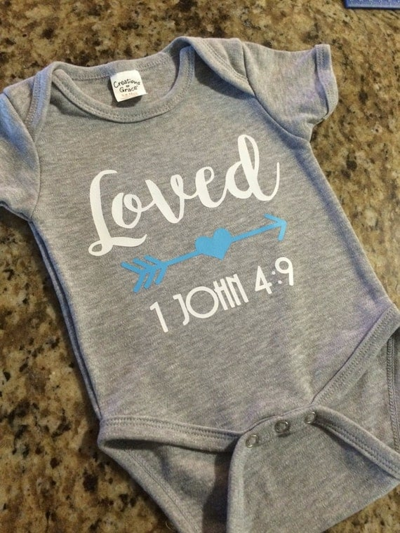 loved christian onesie bible verse baby shower gift