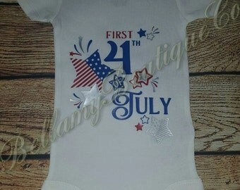 First 4th of JULY, baby's first,star's and stripe's, bodysuit.