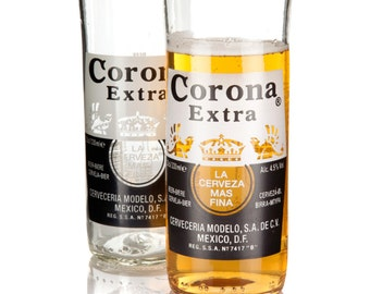 Up cycled Corona Extra Beer Bottle Glasses, pack of two tumblers and handcrafted in North Devon