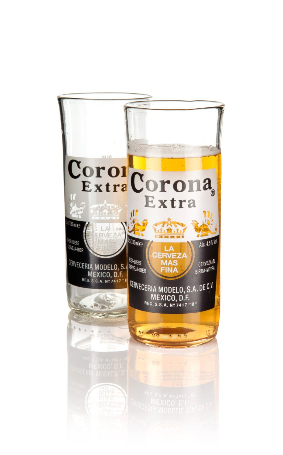 Up cycled corona extra beer bottle glasses pack of two for How to make corona glasses