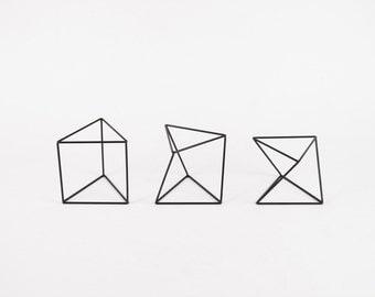 Twist Triangular Cylinder Set of 3 - Handmade Wireframe Decor - JY DesignLab