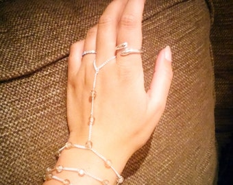 Delicate Sterling Silver and Glass Wrap Bracelet