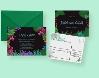 Tiki Theme Wedding Invitation or Suite