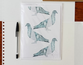 British Culture A5 Greeting Card - Pigeon/The Shard