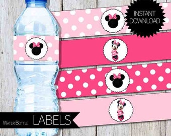 Minnie Mouse Birthday Party PRINTABLE Water Bottle LABELS- Instant Download |Disney Minnie Mouse | Pink Minnie