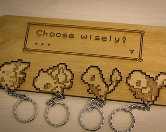 "Pokemon Inspired ""Choose Wisely!"" Lasercut & engraved keyring and wall mount - x4"
