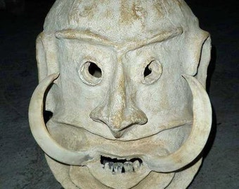 Very rare Asaro ud men danncing ghost mask with huge wild boars tusks and buffalo teeth