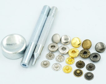 """Setting Tool 100 Sets 10mm 3/8"""" Metal Snap Fastener Leather Rapid Rivet Button Sewing C11"""