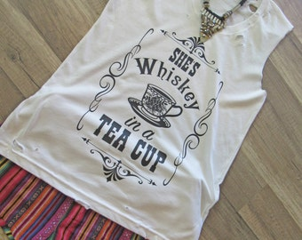 She's Whiskey in a Tea Cup/ Tattered & Torn Vintage muscle tank