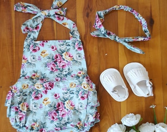 Baby Girl Outfit - Ruffle Bum Romper - Summer 3 Piece Set - Romper, Headband & Sandals, Blue Roses - Size 0
