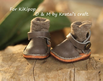 Mary Jane shoes for Kikipop Color Brown gray