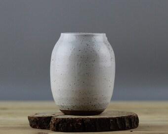 Neutral glazed ceramic bud vase,  speckled cream flower vase, Modern Home Decor