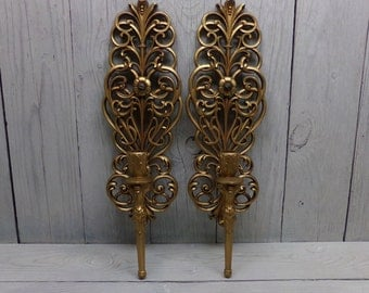 Vintage Burwood Sconces-Vintage Sconces-Gold Sconces-Hollywood Regency-Ornate Sconces