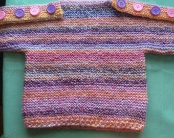 Girl's Multi-colour Hand Knit Pop-Over
