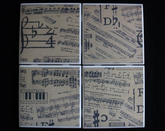 Drink Coasters - Tile Coasters - Ceramic Coasters - Ceramic Tile Coasters - Coaster Set - Table Coasters - Music Coasters - Coaster
