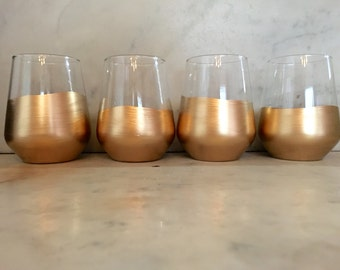 Hand-Gilded Wine Glasses, Set of 4