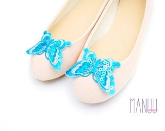 Turquoise  butterflies with sequins - shoe clips Manuu, Bridal shoe clips, Wedding shoe clips