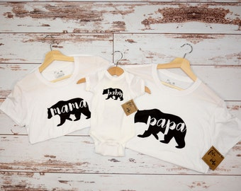 Papa + Mama + Baby Bear Combo, T-shirt, Babie Onesie, Bodysuit, Mom and Baby Combo,