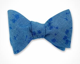 Denim floral Bow tie. Mens bow tie.