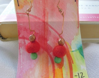 Hand-felted earrings - red, turquoise, copper