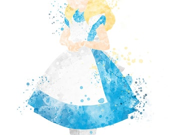 Disney Inspired Alice Watercolour 8 x 6 Print